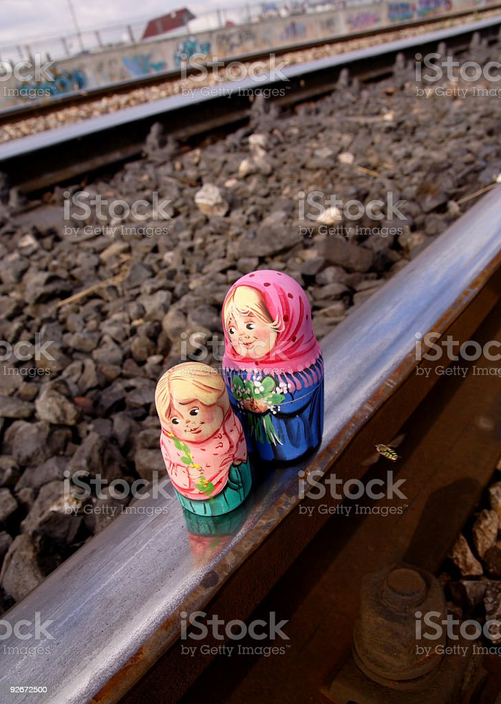 Matryoshkas on the railroad royalty-free stock photo