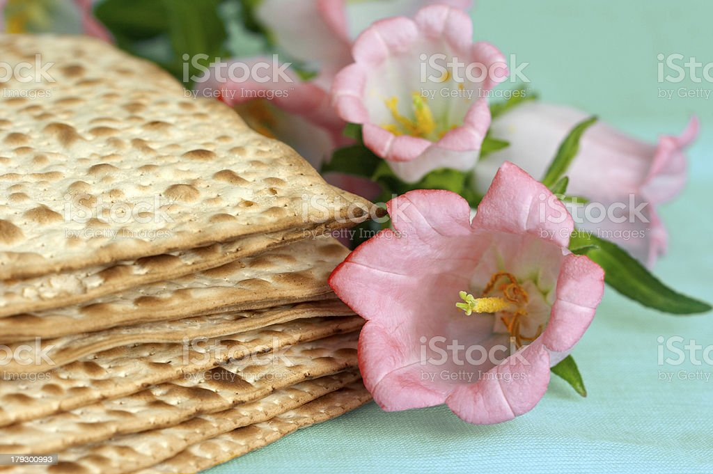 matso bread with flowers stock photo