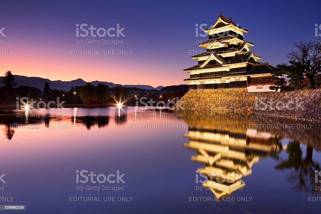 Matsumoto castle in Matsumoto, Japan at night stock photo