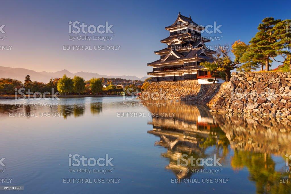 Matsumoto castle in Matsumoto, Japan at sunset stock photo