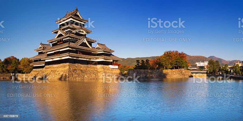 Matsumoto castle in Matsumoto, Japan on a clear day stock photo