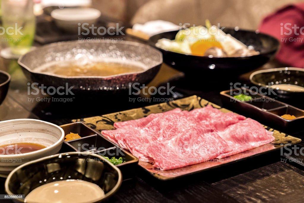 matsusaka beef  Shabu Set stock photo