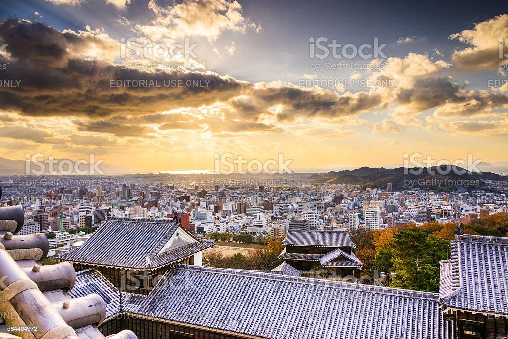 Matsuyama Castle and Matsuyama cityscape stock photo