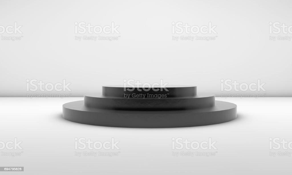 Matte black Empty Podium stock photo