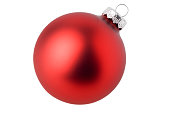 Matte red ball Christmas ornament in a white background