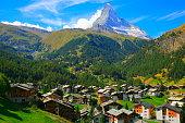 Matterhorn Above Zermatt alpine village swiss chalets panorama, Swiss Alps