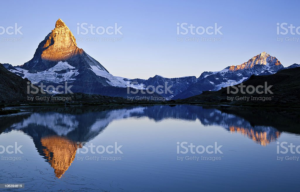 Matterhorn and Dente Blanche at sunrise stock photo