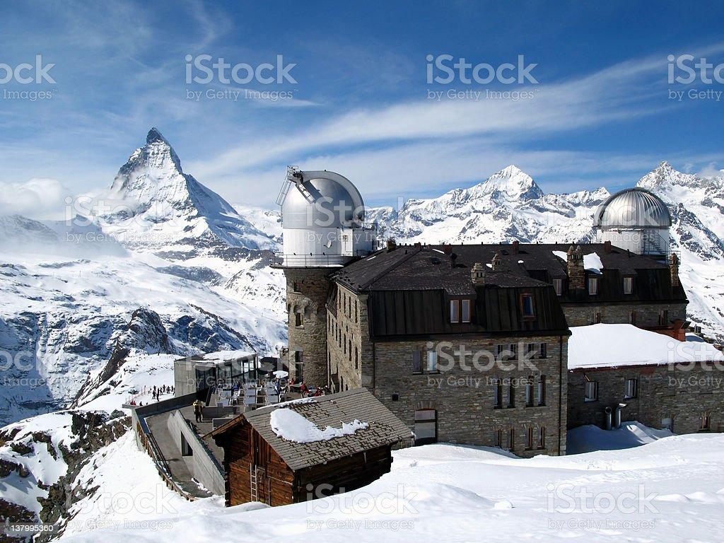Matterhorn and Gornergrat Observatory, Switzerland royalty-free stock photo