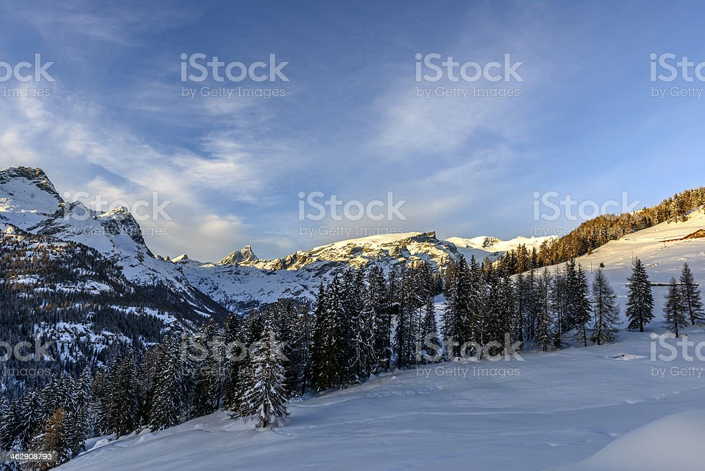 Matterhorn and Mount Rosa at sunset, Aosta valley (North Italy) stock photo
