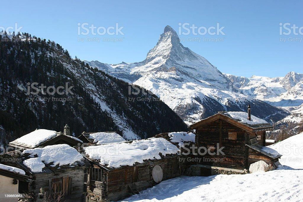 Matterhorn and old village stock photo