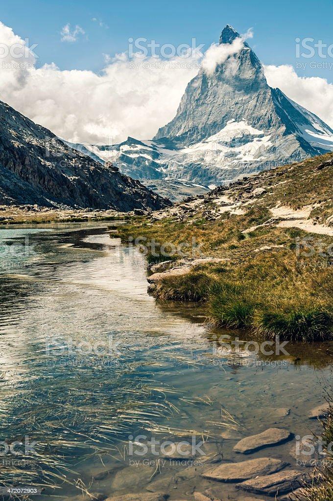 Matterhorn and Riffelsee lake stock photo