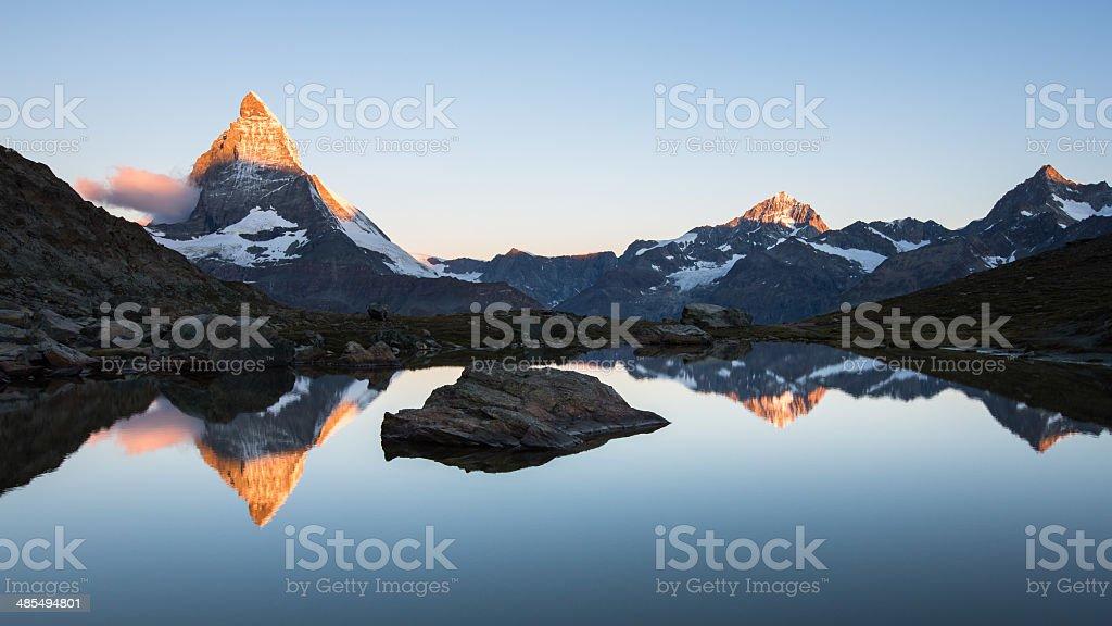 Matterhorn and Riffelsee stock photo
