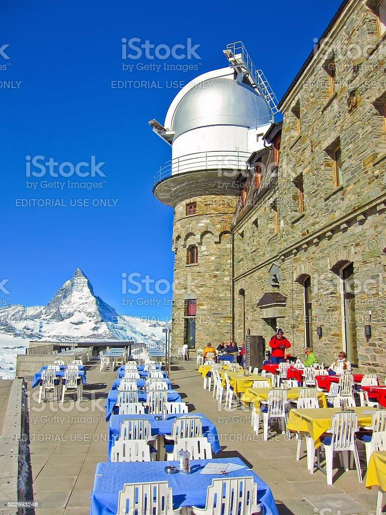 Matterhorn and the Gornergrat Kulm Hotel in Switzerland stock photo