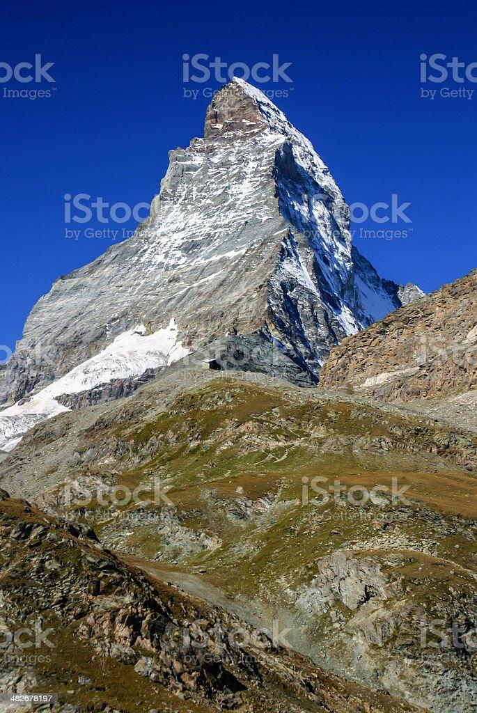 Matterhorn as seen from Zermatt at sunset, Switzerland stock photo