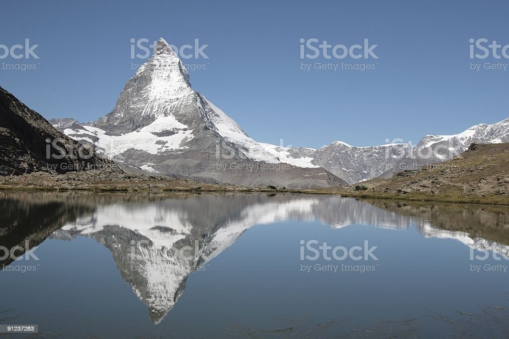 Matterhorn from Riffelsee, Valais, Switzerland stock photo