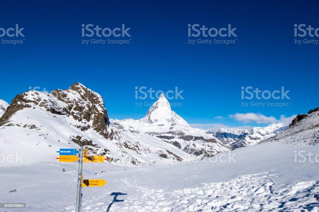 Matterhorn from Rotenboden signpost. stock photo