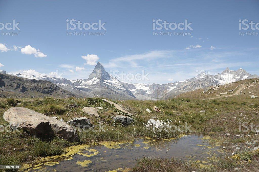Matterhorn from the Stellisee, Valais Canton, Switzerland royalty-free stock photo