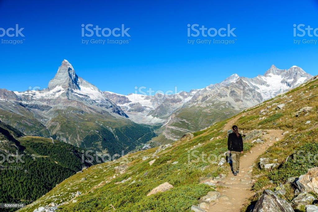 Matterhorn - Hiker in beautiful landscape of Zermatt, Switzerland stock photo