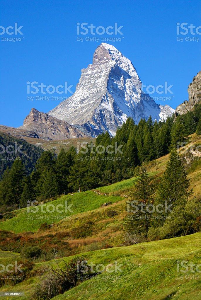 Matterhorn (4478m) in the Pennine Alps from Zermatt, Switzerland stock photo