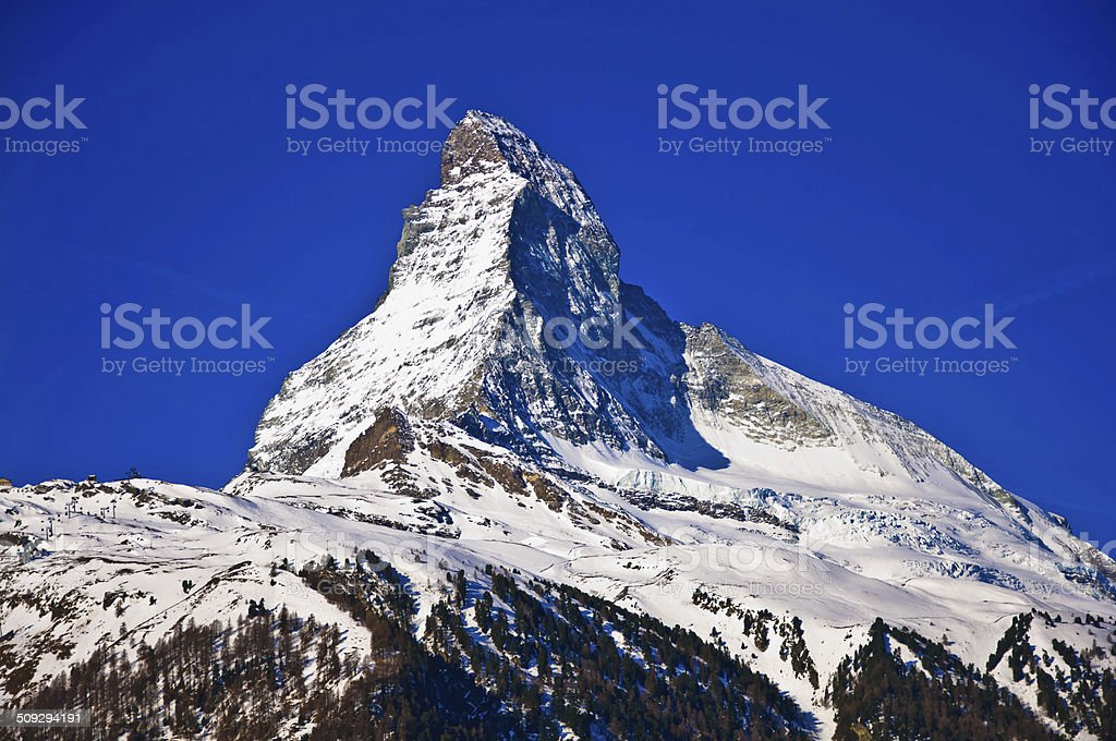 Matterhorn mountain of zermatt switzerland stock photo