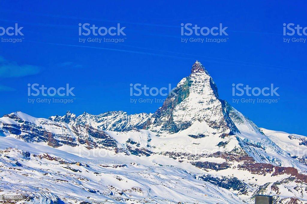 Matterhorn mountain of zermatt switzerland stock photo