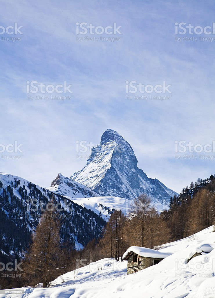 Matterhorn mountain of zermatt switzerland. Winter in swiss alps royalty-free stock photo