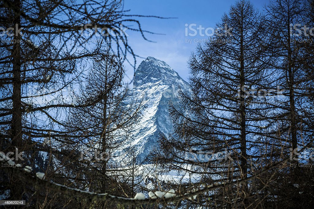 Matterhorn mountain of zermatt switzerland. Winter in swiss alps stock photo