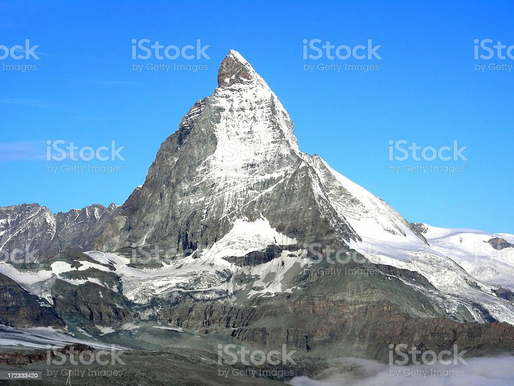 Matterhorn mountain with snow on top royalty-free stock photo