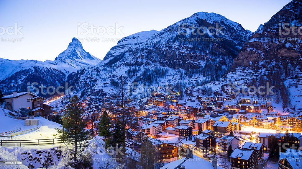 Matterhorn mountain, zermatt in switzerland stock photo