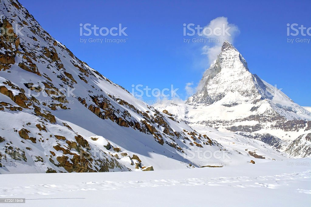 Matterhorn peak Alp Switzerland stock photo