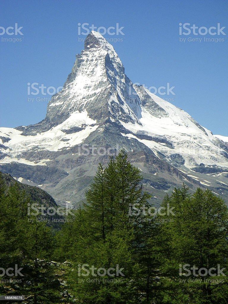 Matterhorn Peak Glaciers above the forest near Riffelalp Switzerland stock photo