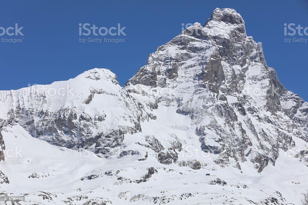 Matterhorn peak in Breuil-Cervinia. Valtournenche. Aosta Valley. Italy stock photo