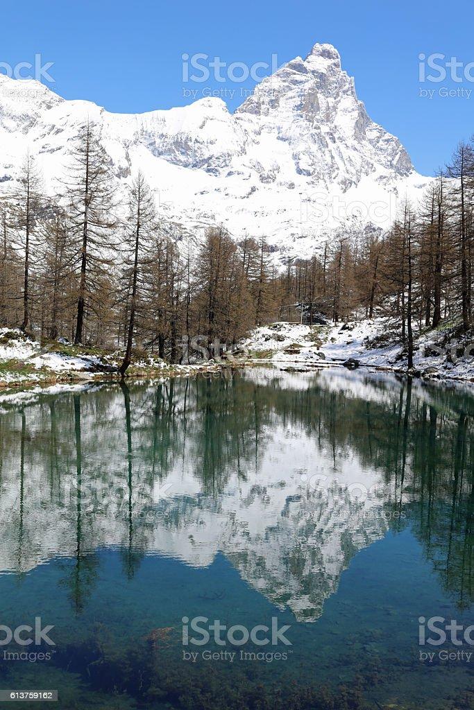 Matterhorn peak in Breuil-Cervinia with Lake Blue. Valtournenche stock photo