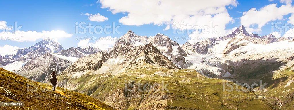 Matterhorn peak in panorama view, Switzerland. stock photo