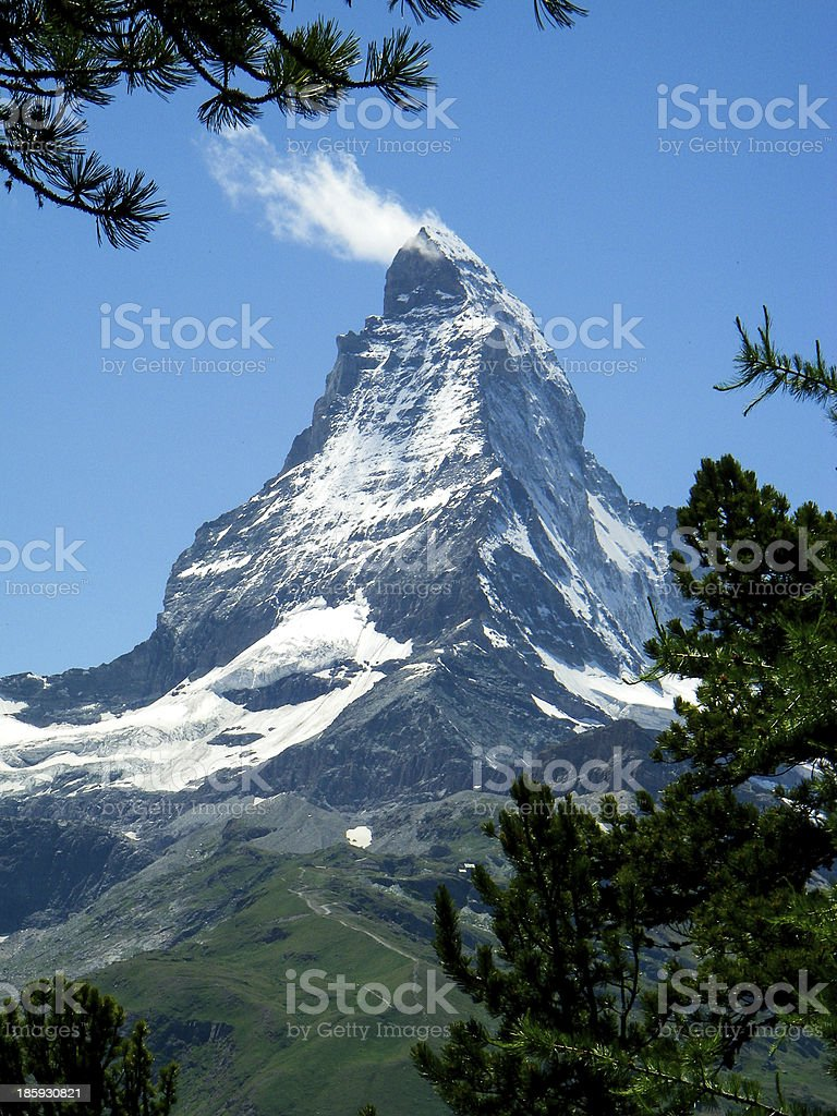 Matterhorn Peak in the Swiss Alps from Riffelalp Switzerland stock photo
