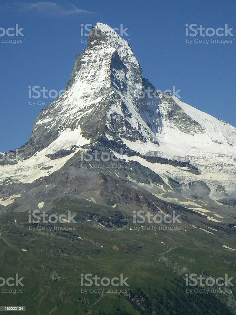Matterhorn Perak cloudless day near Zermatt Zwitzerland royalty-free stock photo