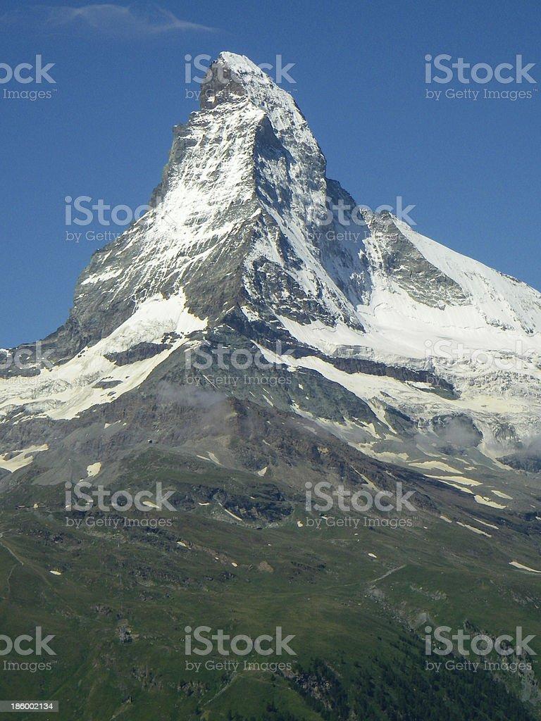 Matterhorn Perak cloudless day near Zermatt Zwitzerland stock photo
