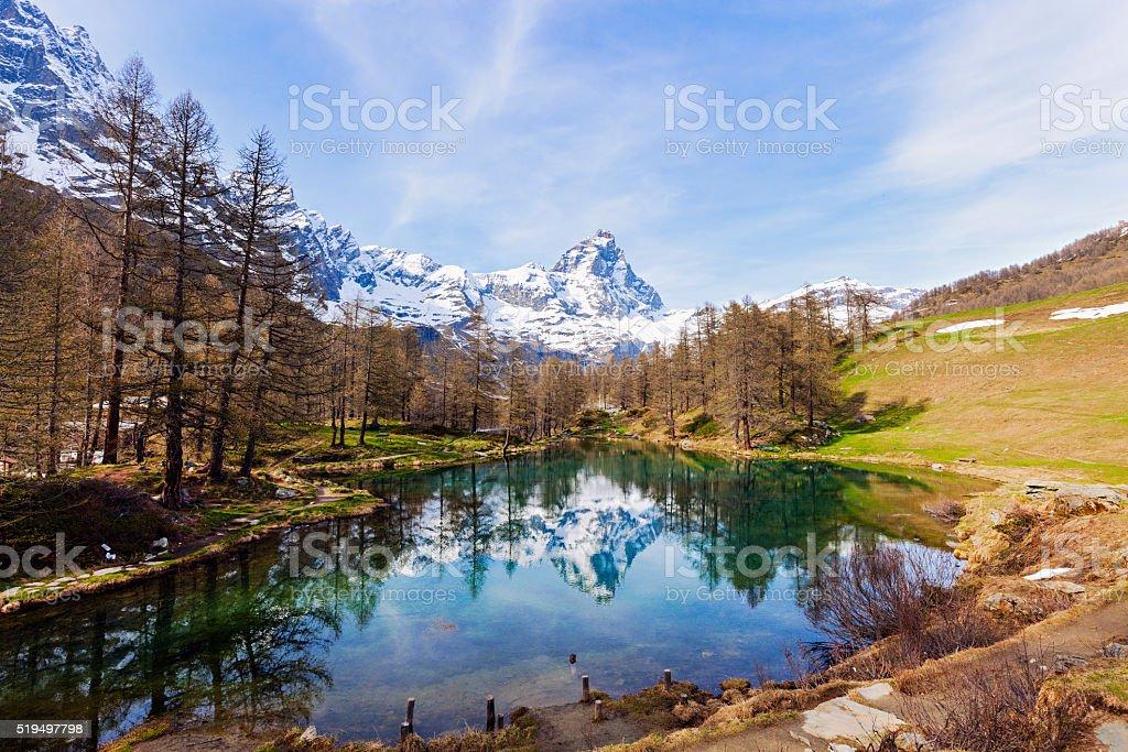 Matterhorn reflected in Blue Lake stock photo