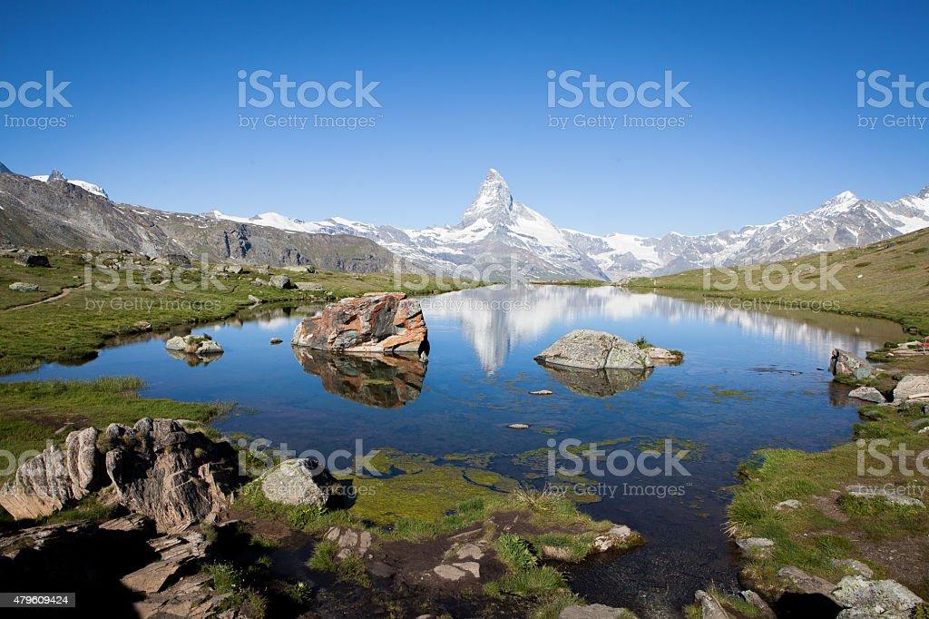 Matterhorn reflection in the lake stock photo