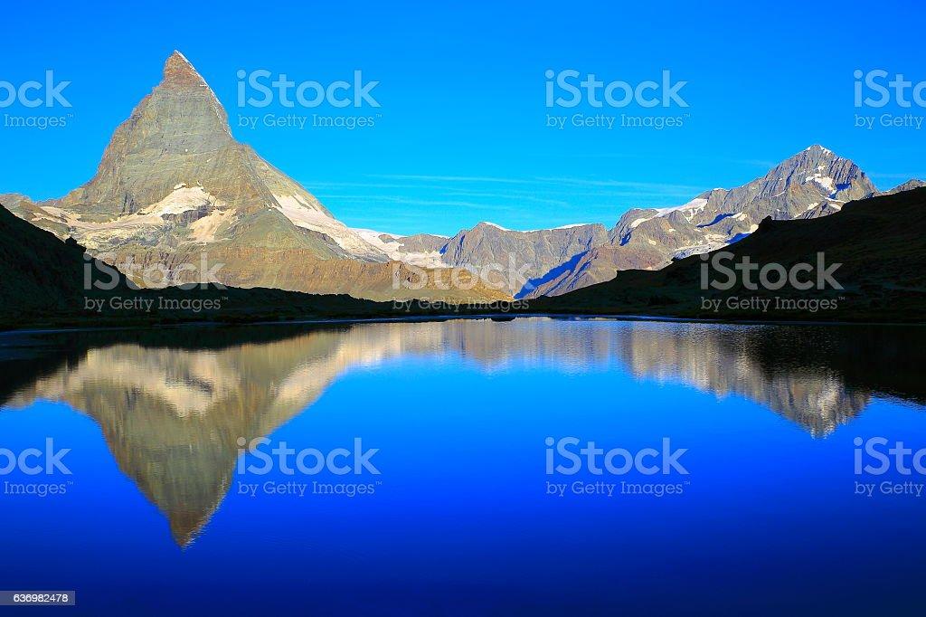 Matterhorn riffelsee lake reflection, swiss alps classic landscape, Switzerland stock photo