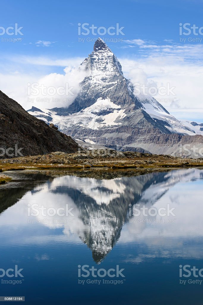 Matterhorn, Riffelsee stock photo