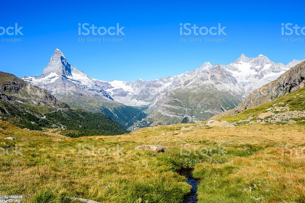 Matterhorn - small river in landscape of Zermatt, Switzerland stock photo