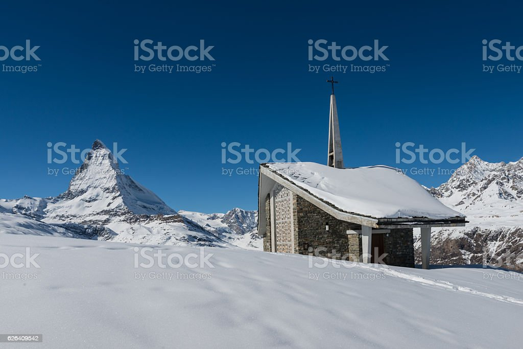 Matterhorn with chapel stock photo