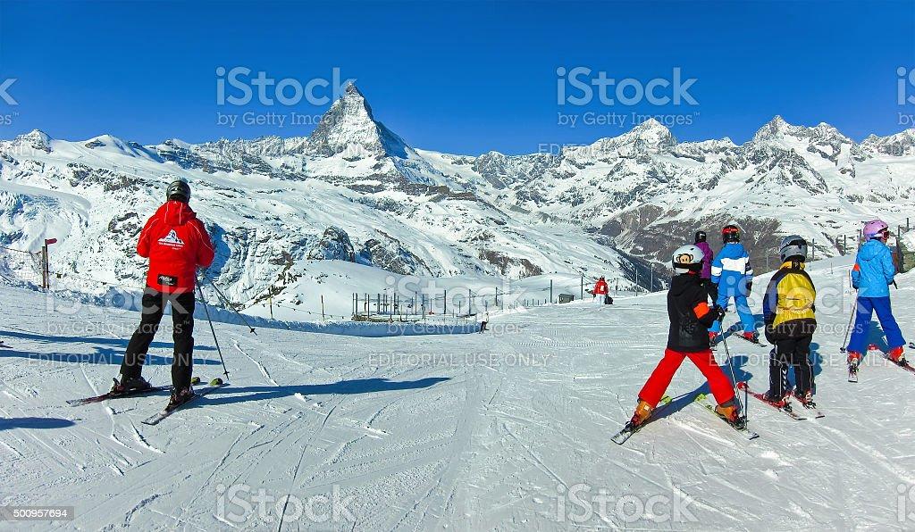 Matterhorn with some skiers from Gornergrat, Zermatt, Switzerland stock photo