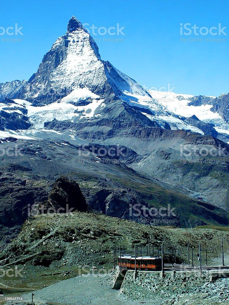 Matterhorn with train royalty-free stock photo