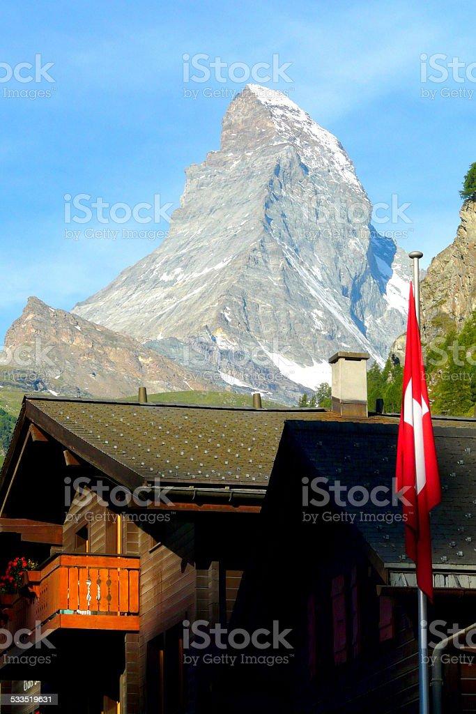 Matterhorn's mountain viewed from Zermatt in Switzerland stock photo