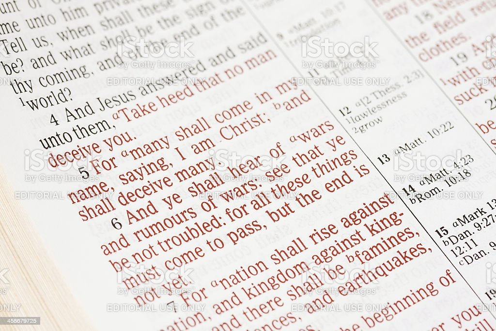 Matthew Chapter 24 Bible Text stock photo