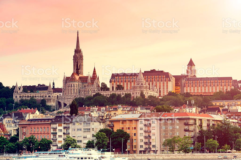 Matthias Church and Fisherman's Bastion in Budapest stock photo