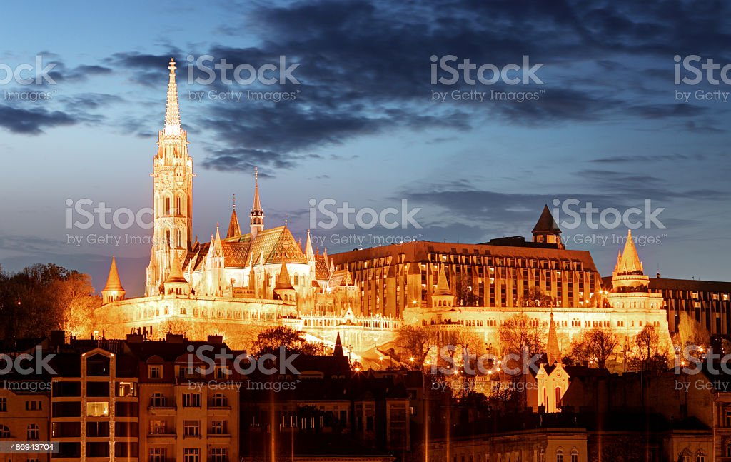 Matthias Church and Fisherman's Bastion over the Danube, Budapest, Hungary. stock photo