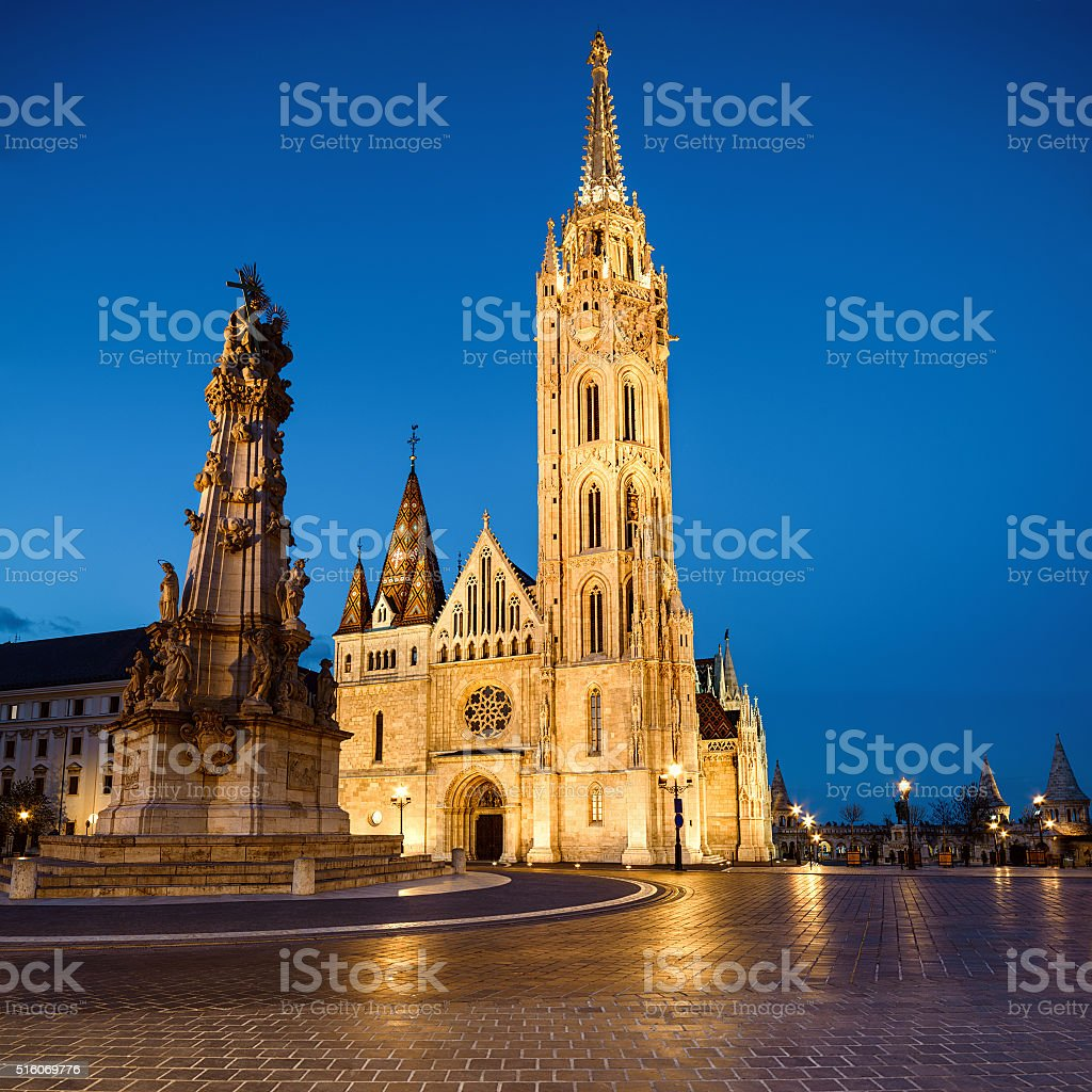 Matthias church and Statue of Holy Trinity in Budapest, Hungary stock photo